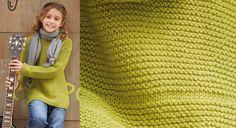 La rentrée c'est cool avec un nouveau pull, celui-ci est tricoté en alternant point mousse et point jersey, ce qui forme des rayures en relief. Tailles : -a) 4 ans -b) 6 ans -c) 8 ans -d) 10 ans -e) 12 ans>