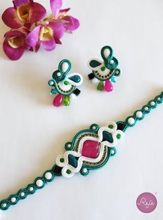Soutache earrings and bracelet. Entirely hand-sewn by Reje, Italian jewelry designer.