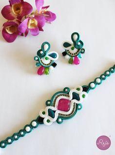 Soutache earrings and bracelet. Entirely hand-sewn by Reje, Italian jewelry designer.