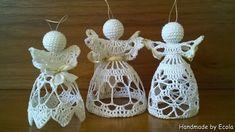 Handmade by Ecola & Dana Art - Aniołki 2015 Crochet Angel Pattern, Crochet Angels, Beach Cottage Style, Knitting Projects, Crochet Earrings, Quilts, Christmas Ornaments, Holiday Decor, Handmade