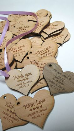 50 - 2 x 2 Heart Tags - Custom Wedding Tags - Wood Wedding Tags Wedding Tags, Wedding Favours, Diy Wedding, Wedding Events, Rustic Wedding, Wedding Gifts, Wedding Invitations, Dream Wedding, Ornament Wedding Favors