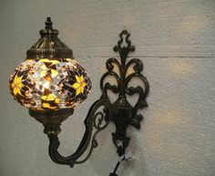 Yellow mosaic glass sconce lamp wall lamp lampe by meryemart Turkish Lights, Outdoor Lamps, Moroccan Lanterns, Mosaic Glass, Lamp Light, Wall Sconces, Wall Lights, Candles, Lighting