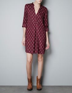 TUNIC WITH PRINTED BIB FRONT - the color and print - my favorite and of course the cuff sleeves. own a kurta in this style