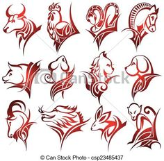 Vector - Chinese zodiac signs - stock illustration, royalty free illustrations, stock clip art icon, stock clipart icons, logo, line art, EPS picture, pictures, graphic, graphics, drawing, drawings, vector image, artwork, EPS vector art