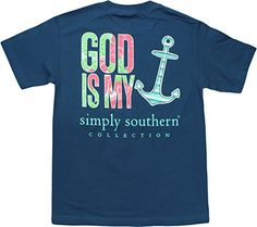 Simply Southern Tees Short Sleeve Preppy God is My Anchor Small Navy Blue Simply Southern Tees http://www.amazon.com/dp/B00SEMHPT0/ref=cm_sw_r_pi_dp_BoXHvb1CDF3PE