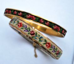 Vintage Petit Point Rosebud Embroidered Bangles