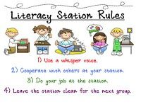posters -- Literacy Station Rules, Tattle Monster, Pencil Sharpening, Desk Fairy