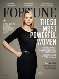yahoo CEO Marissa Mayer on the cover of forbes magazine's 50 most powerful women, 2012 issue.  At 37, Mayer is the youngest female CEO of a fortune 500 company & the first to assume the job while pregnant