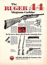 1967 Sturm, Ruger .44 Magnum Carbine Ad Vintage Firearms Advertising~/