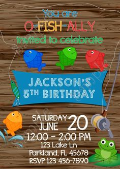 Fishing Invitation, Fishing birthday party Invite, Gone Fishing party