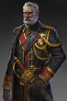 male human General, army officer in dress uniform RPG character inspiration General, liu pengcheng Fantasy Character Design, Character Design Inspiration, Character Concept, Character Art, Concept Art, Dungeons And Dragons Characters, Sci Fi Characters, Fantasy Armor, Medieval Fantasy