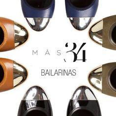 Bailarinas Ana MAS34: piel azul punta plata, piel marrón punta oro, ante kaki punta oro y charol negro punta plata http://www.mas34shop.com/tienda/categoria/zapatos-planos/