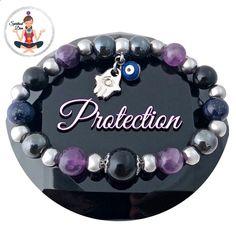 PROTECTION Hamsa Hand Evil Eye Reiki Healing Crystal Gemstone Bracelet
