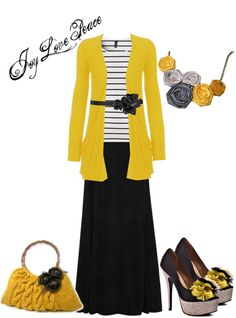 """""""Fabric Flower Obsession"""" by audge999 ❤ liked on Polyvore. Modest outfit. Not a fan of the shoes."""
