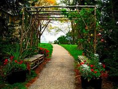 love the benches under the arbor