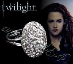 Twilight Breaking Dawn - Bella Swan & Edward engagement ring - 925 Sterling Silver with Swarovski crystals - EXACT PROP - plus Twilight card. $75.00, via Etsy.