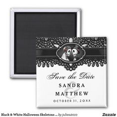 Visit: http://jagifts.us/HalloweenElegantBlackWhiteSaveDateMagnetSkeletons - Black & White Halloween Skeletons Elegant Lace Save the Date 2 Inch Square Wedding Magnet by Julie Alvarez Designs. Easily customize and purchase online thru Zazzle. A collection of matching items are available. #halloweenwedding #skeletons #savethedate