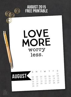 Free 5x7 August 2015 Calendar Printable with inspirational quote! www.livelaughrowe.com