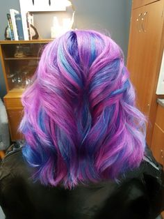 Mermaid hair in fuschia, sapphire and orchid by Shana Montgomery, owner of Fringe Theory Salon.