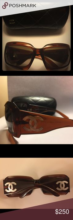 CHANEL SUNGLASSES Brown with silver Chanel symbol on each side. Accessories Sunglasses