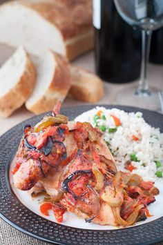Roast Chicken with Sautéed Onions and Peppers   Photos & Food