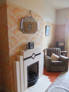 Art Deco Fireplace made by Britains Heritage to Order Part Number Made to this original design ! 1930s Fireplace, Art Deco Fireplace, Tile Fireplace, 1930s Home Decor, 1940s Home, Art Deco Living Room, Retro Room, Vintage Interiors, Deco Interiors