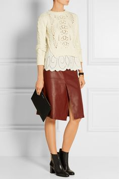 Vanessa Bruno|Layered cable-knit wool and broderie anglaise linen sweater|NET-A-PORTER.COM