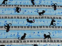 Cat fabric  Black cat with music piano  2 by AsiaQueencottonshop, $7.50
