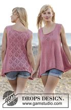 Drops Pattern 167-6, Knitted top with lace pattern and A-shape, top down in…
