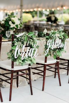 Laser cut bride and groom sweetheart signs for the back of your chairs http://ajdunlap.com/kristen-jospeh-summerfield-farms-wedding/