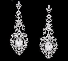 Bridal Orange Earrings Pageant Bridal Champagne Chandelier Long ...