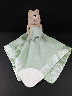 Lt Green WINNIE POOH Baby Lovey Security & Teether Blanket Fleece Disney B416