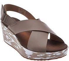 e2c45702a545 Clarks Leather Cross Band Wedge Sandals - Stasha Hale. Clark WedgesShoe ...
