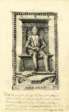 WL male figure, frontal view; seated on a chariot; wearing armour and holding a sword in his r hand;  a dog at his feet; after the so-called Tarocchi Cards of Mantegna.  Engraving