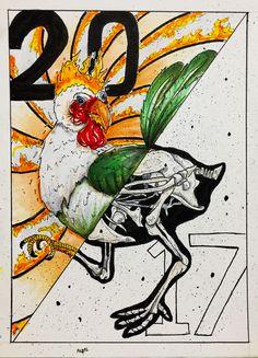 2017-Fire Chicken Fire Chicken, Dark Artwork, Rooster, Horror, Skull, Ink, Illustration, Animals, Animales
