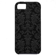 Elegant Black & Dark Gray Vintage Floral Damasks iPhone 5 Case