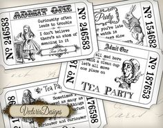 Alice in Wonderland Tea Party Invitation Tickets Black white printable images digital collage sheet VD0396