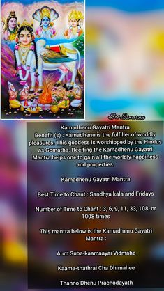 Kamadhenu Gayatri Mantra Benefit (s) : Kamadhenu is the fulfiller of worldly pleasures. This goddess is worshipped by the Hindus as Gomatha. Reciting the Kamadhenu Gayatri Mantra helps one to gain all the worldly happiness and properties. Kamadhenu Gayatri Mantra Best Time to Chant : Sandhya kala and Fridays Number of Time to Chant : 3, 6, 9, 11, 33, 108, or 1008 times This mantra below is the Kamadhenu Gayatri Mantra : Aum Suba-kaamaayai Vidmahe Kaama-thathrai Cha Dhimahee Thanno Dhenu P Vedic Mantras, Hindu Mantras, Natural Health Tips, Natural Cures, Diwali Pooja, Gayatri Mantra, Sanskrit Mantra, Hindu Dharma, Color Meanings