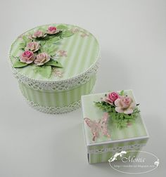 "I LOVE THE ADDITION OF THE PEARLS AND ""LEAVES"" ON THE LARGER BOX!!!  AND THE COLORS ARE PERFECT!  ♥A***Would love to do this using my CLAY ROSES! =)"