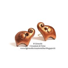 Polymer clay  stud earrings with copper and by IlGirasoleElisa