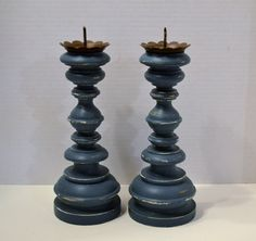 Wood Candle Holders Candlesticks Teal Upcycle by LittlestSister, $22.50