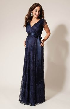 Our best-selling Eden long maternity gown in our new shade of midnight blue Arabian Nights.  As worn by Princess Madeleine of Sweden.