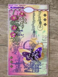 Aall&create Art Journal Pages, Art Journals, Journal Ideas, Craft Projects, Projects To Try, Butterfly Canvas, 3d Craft, Pocket Cards, Sketch Art