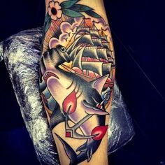 tattoo old school / traditional nautic ink - ship and shark