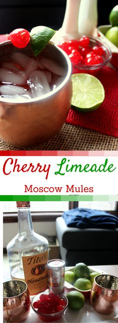 Cherry Limeade Moscow Mules :Cherry is the perfect addition to the classic Moscow Mule cocktail! So light and refreshing! Beste Cocktails, Easy Cocktails, Cocktail Drinks, Cocktail Recipes, Vodka Cocktails, Sweet Cocktails, Dinner Recipes, Party Drinks, Fun Drinks