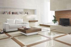 minimalist living room white ceramic tiles