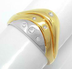 Foto 1, Neu! Brillant-Bicolor-Ring 14K/585 !1A-Top-Design! Shop, S8194