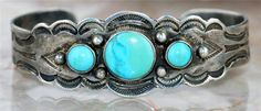 """RARE Vintage """"Old Pawn"""" Navajo Red Mountain Turquoise Sterling Bracelet 19 7g"""