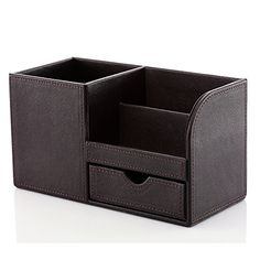 KINGFOM Wooden Struction Leather Multifunction Desk Stationery Organizer Storage Box PenPencil Cell phone Business Name Cards Remote Control Holder Colors dark brown * See this great product.