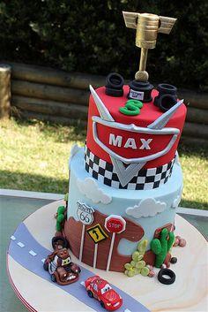 IMG_0417 (Custom) by cake by kim, via Flickr Cupcake Icing, Cupcakes, Blaze Cakes, Bus Cake, 2nd Birthday Photos, Mcqueen Cake, Cars Birthday Parties, Birthday Cake, Movie Cakes